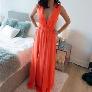 BNWOT Orange BCBG Long Deep V Dress